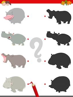 Matching shadows jeu éducatif avec des hippopotames