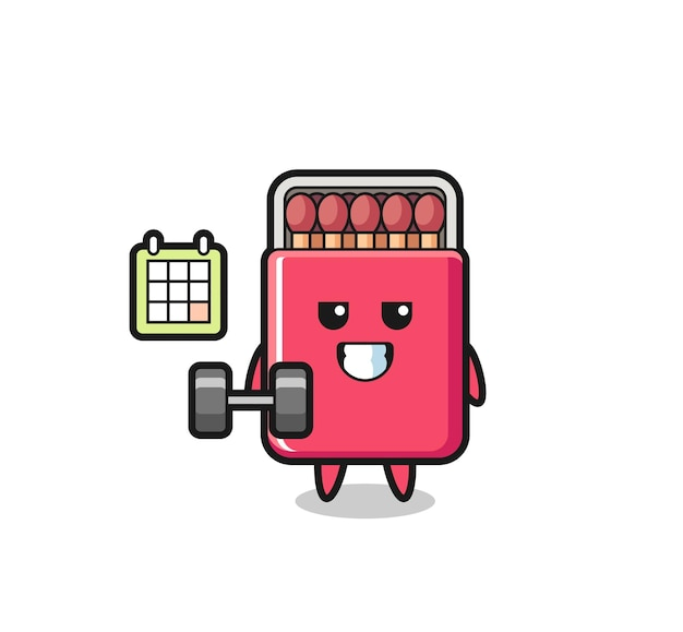 Matchs box mascot cartoon faisant du fitness avec haltère, design mignon