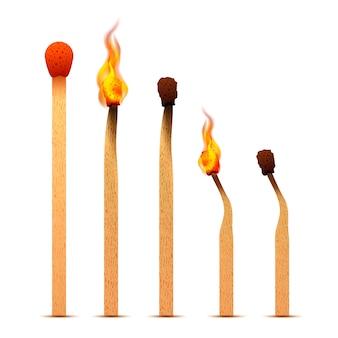 Matchs réalistes avec des flammes de feu sur différentes étapes de combustion