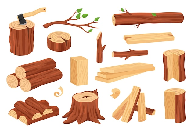 Matériaux de bois de construction bûches troncs souches bois de chauffage planches branches ensemble vectoriel