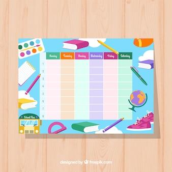Matériaux colorés et calendrier scolaire amusant