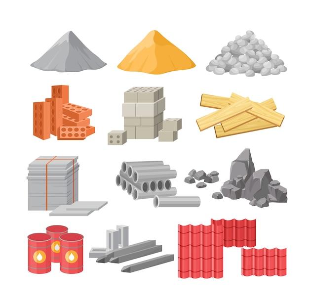 Matériaux de construction isolés sur blanc