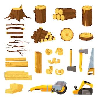 Matériaux et outils de l'industrie du bois. planches de bois, bûches, planches et copeaux d'arbres. hache, ciseau, scie, meuleuse et ponceuse à bande. jeu de boiseries vectorielles. équipement de production et de coupe en bois