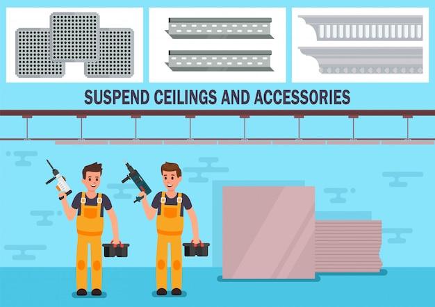 Matériaux de plafond suspendu bannière publicitaire vecteur plat