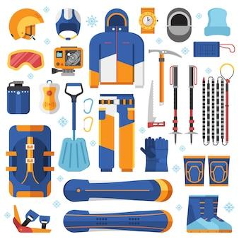 Matériel et accessoires de snowboard freeride.