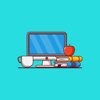 Matériel d'apprentissage en ligne vector illustration design ordinateur livre café et pomme