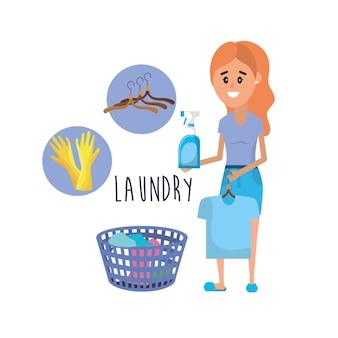 Matériel de blanchisserie et femme faisant un travail domestique
