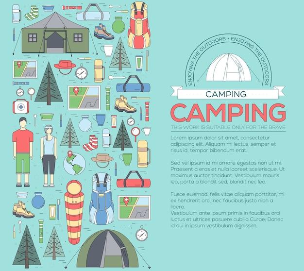 Matériel de camping défini concept de modèle infographie cercle