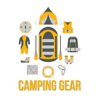 Matériel de camping. equipement de tourisme. éléments web de voyage en bateau sur la rivière. illustration vectorielle