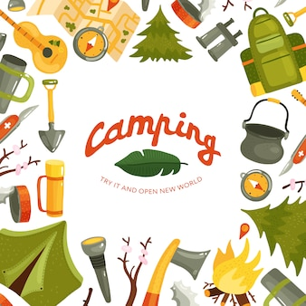 Matériel de camping en forêt