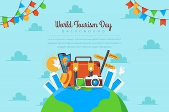 Matériel coloré pour célébrer la journée mondiale du tourisme