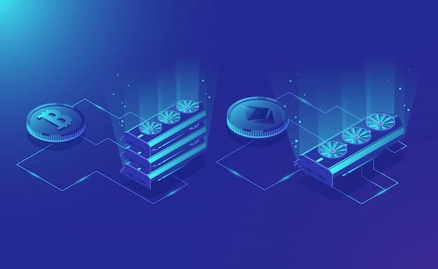 Matériel d'exploitation minière crypto-monnaie, extrait de monnaie numérique isométrique ethereum