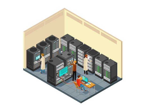 Matériel informatique dans la salle des serveurs du réseau avec le personnel. illustration vectorielle de centre de sécurité isométrique