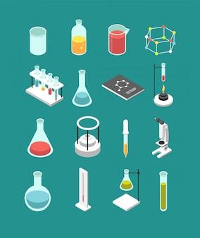 Matériel de laboratoire chimique 3d isométrique.