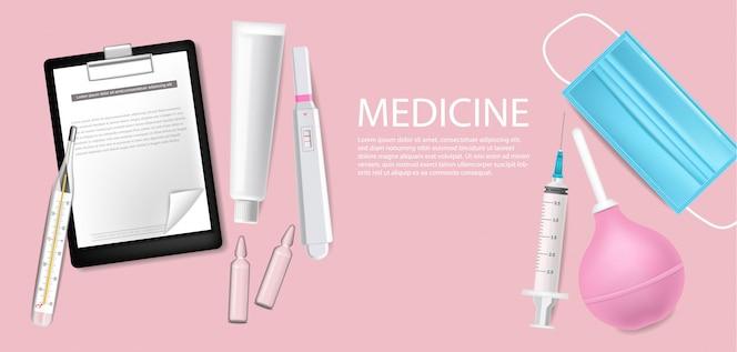 Matériel médical réaliste. annoncez la bannière avec un masque de protection. test, aiguilles et illustrations 3d de thermomètre