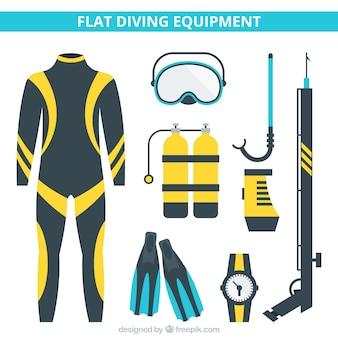 Matériel de plongée en design plat