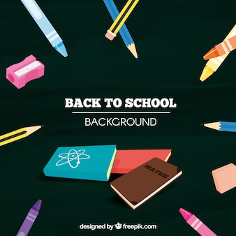 Matériel scolaire et livres à fond noir