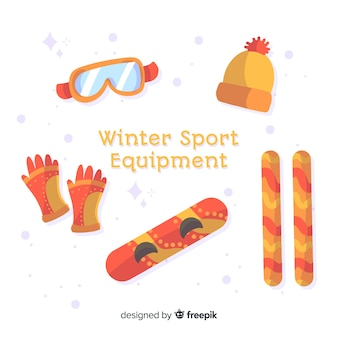 Matériel de sport d'hiver dessiné à la main