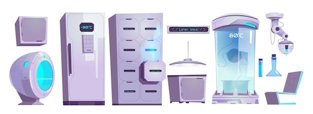Matériel et techniques de laboratoire de cryonie, caméra cryo avec régime à basse température, tiroir et réfrigérateur avec écran numérique et flacons en verre, ensemble d'illustration vectorielle de dessin animé isolé au laser