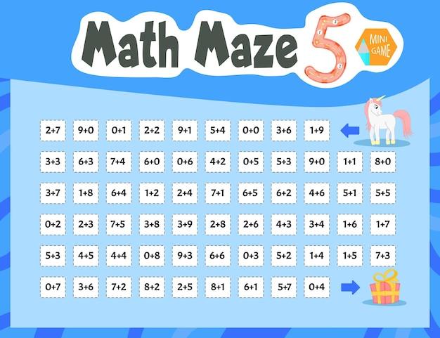 Math maze est un mini-jeu pour les enfants. style de bande dessinée. illustration vectorielle.