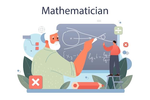 Mathématicien. le mathématicien recherche et utilise un modèle scientifique