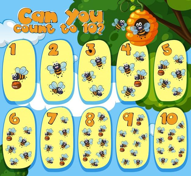 Mathématiques comptage des abeilles 1 à 10