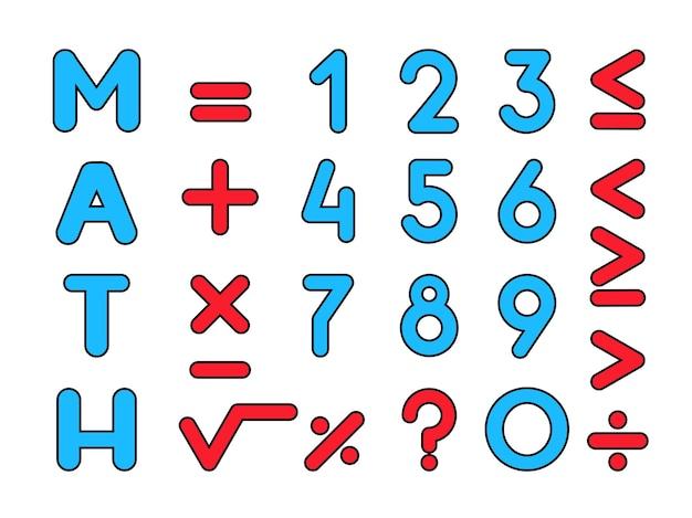 Mathématiques, nombres premiers et signes et symboles mathématiques.