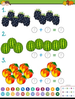 Maths additionnel jeu éducatif avec des fruits