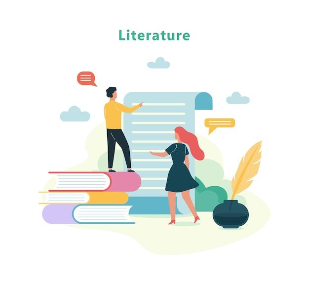 Matière d'école de littérature. idée d'éducation et de connaissance