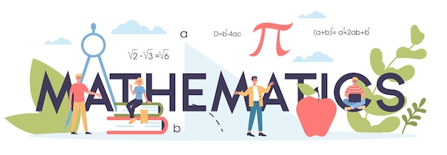 Matière scolaire de mathématiques. apprendre les mathématiques, idée de l'éducation et des connaissances. science, technologie, ingénierie, enseignement des mathématiques.
