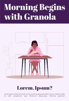 Le matin commence avec le modèle d'affiche de granola. conception de flyer commercial de petit-déjeuner de céréales saines avec illustration semi-plate. carte de promotion de dessin animé de vecteur de régime équilibré. invitation publicitaire