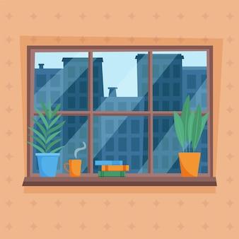 Matin midi ou après-midi vue sur la ville depuis la fenêtre