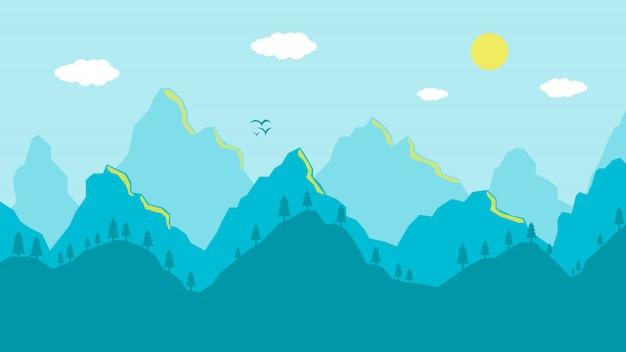 Matin de paysage de montagnes de dessin animé