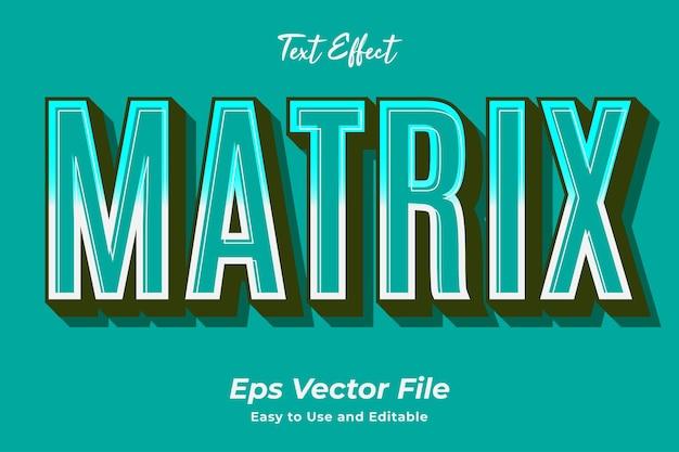 Matrice d'effet de texte modifiable et facile à utiliser vecteur premium