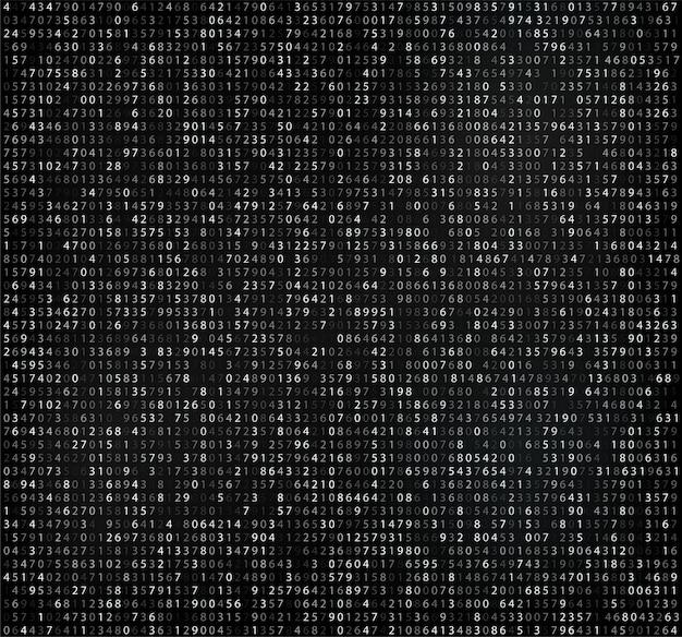Matrice noire avec chiffres, code informatique pour le cryptage et l'encodage