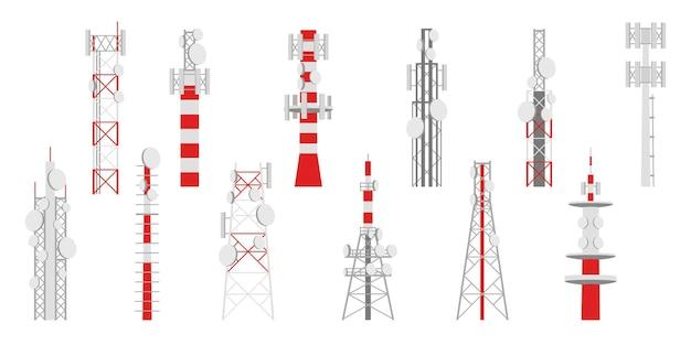 Mâts radio. tours d'émetteur de télécommunications, télévision ou internet et réseau de signaux par satellite de télécommunication d'antenne de radiodiffusion, ensemble isolé d'images vectorielles