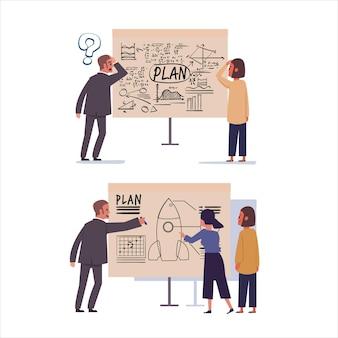 Mauvais et bon plan d'affaires sur carton. - illustration
