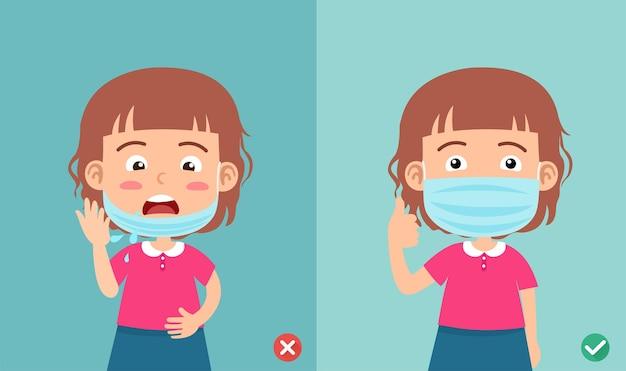 Mauvais et bon port du masque pour prévenir l'infection