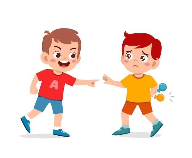 Mauvais comportement enfant intimidateur ami à l'école