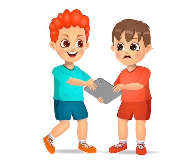 Mauvais enfant prenant la tablette de son ami avec force. isolé sur blanc