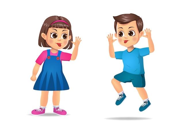 Les mauvais enfants s'intimident les uns les autres. isolé sur blanc