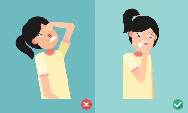 Mauvais et juste pour les premiers soins en cas de saignement nasal