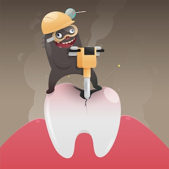 Le mauvais monstre est en train de creuser et d'endommager la dent, vecteur de dessin animé, concept avec la santé de la dent