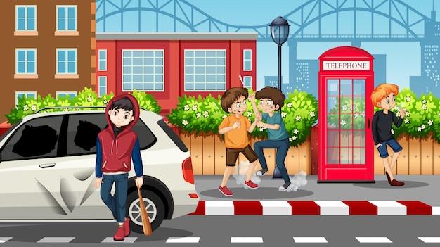 Mauvais teengaers dans rue