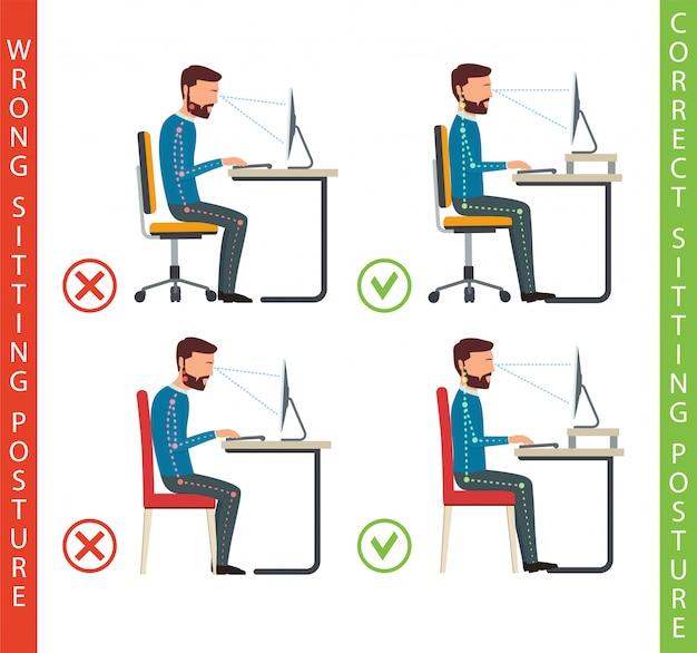 Mauvaise et bonne position de travail de l'homme à l'ordinateur.