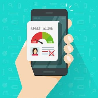 Mauvaise cote de crédit en ligne sur dessin animé plat de téléphone mobile