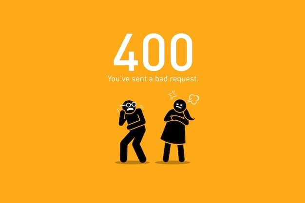 Mauvaise demande. les illustrations vectorielles représentent un scénario drôle et humoristique avec un chiffre de bâton humain pour une erreur de demande de site web http.