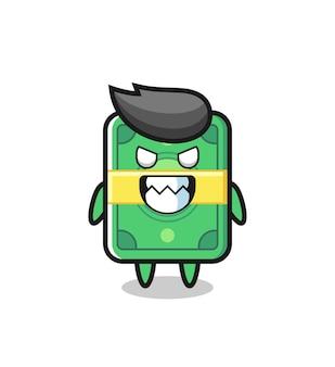 Mauvaise expression du personnage de mascotte mignon d'argent, conception de style mignon pour t-shirt, autocollant, élément de logo