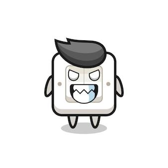 Mauvaise expression du personnage mascotte mignon de l'interrupteur d'éclairage, design de style mignon pour t-shirt, autocollant, élément de logo