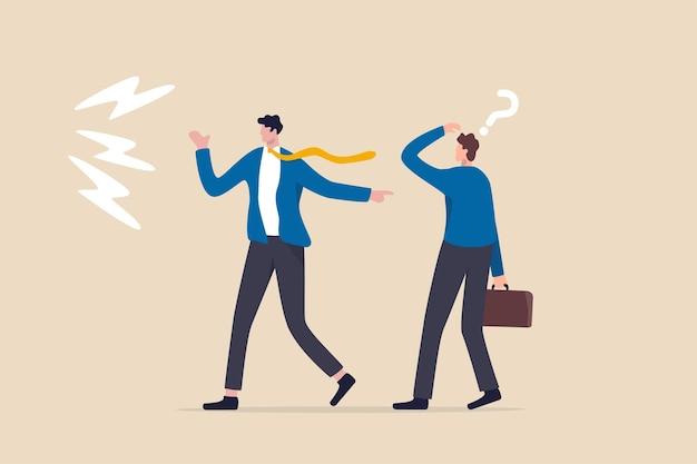 Mauvaise habitude blâmer les autres, excuser et jeter une erreur à un collègue ou à une équipe
